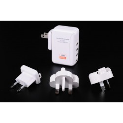全球通用旅行萬用充電器 / USB 插座萬用轉接頭 (4USB / 5V5A / 蘋果 iphone 三星等)