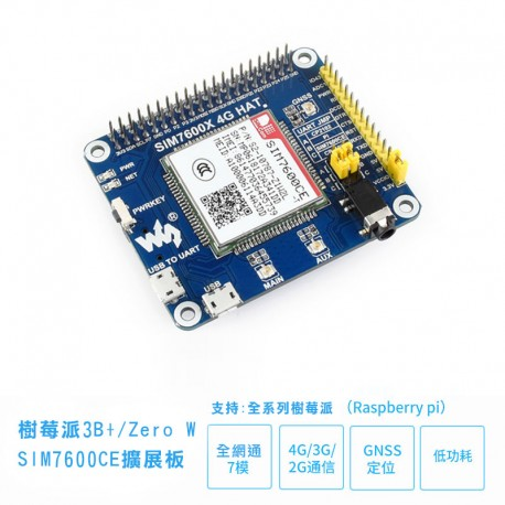 樹莓派3B+/Zero W SIM7600CE擴展板