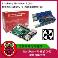 Raspberry Pi 4B板 (1G)  + 散熱金屬外殼