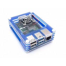 樹莓派Pi 4B亞克力9層外殼套件組(含風扇) (藍黑)