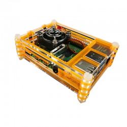 樹莓派Pi 4B壓克力9層外殼套件組(含風扇) (螢光黃)