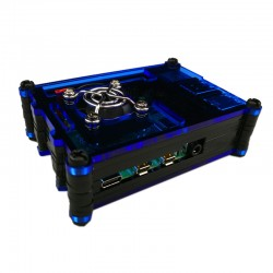 樹莓派Pi 4B壓克力9層外殼套件組(含風扇) (藍黑)